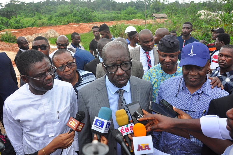 Edo State Governor, Mr. Godwin Obaseki (middle); Chairman, Ad-Hoc Committee on Niger Delta Development Commission (NDDC) Abandoned Projects in Edo State, Hon. Sergius Ogun (right), and Edo State Deputy Governor, Rt. Hon. Comrade Philip Shaibu (left), during an on-the-spot assessment of failed NDDC projects in Benin City, Edo State.