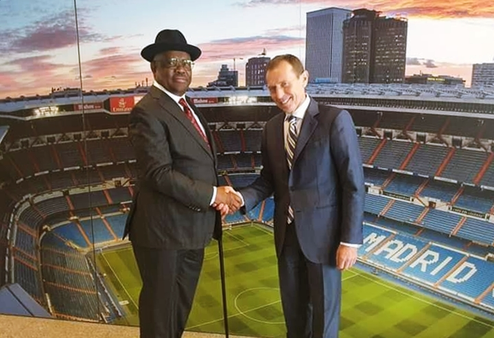 Rivers State Governor, Nyesom Wike at the Santiago Bernabeu Stadium, home of Real Madrid Football Club