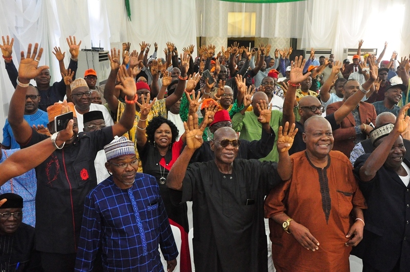Cross-section of leaders of the All Progressives Congress (APC) from 18 local government areas of Edo State at a meeting with Governor Godwin Obaseki where they unanimously adopted the governor as the APC flagbearer for the 2020 gubernatorial election, in Government House, in Benin City, on Tuesday, November 5, 2019.
