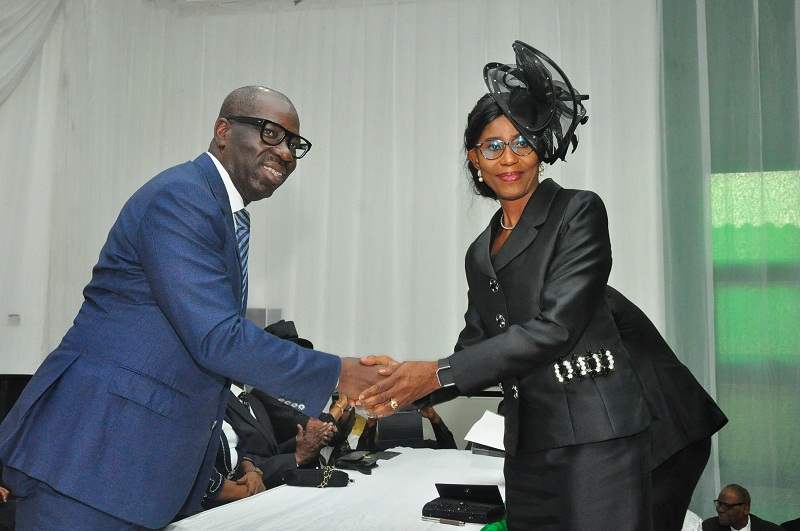 Edo State Governor, Mr. Godwin Obaseki (left), with newly sworn-in Edo State Chief Judge, Justice Esther Edigin, at the swearing-in of the Chief Judge, at Government House, in Benin City, on Friday, November 22, 2019.