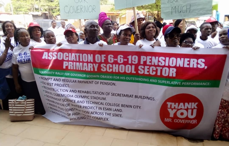 Edo State Primary School pensioners during the solidarity rally for Governor Obaseki's Second Term Bid