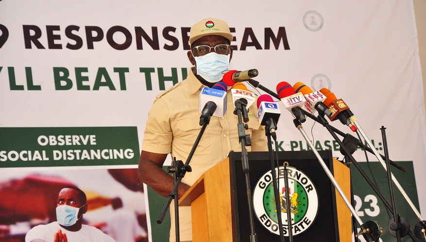 Edo Governor, Godwin Obaseki at a parley with labour union leaders as part of activities to mark the International Labour Day, at the Government House, Benin City, on Friday, May 1, 2020.