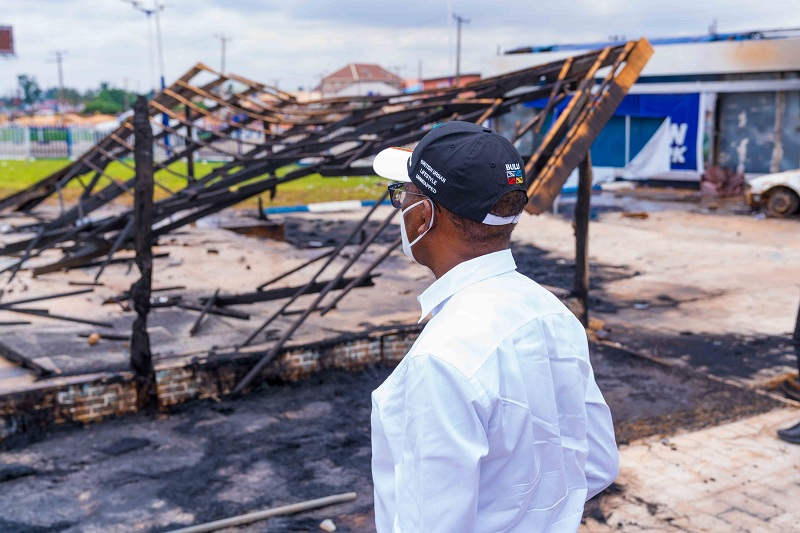 Governor Okowa Inspects Torched Recreational Center at Koka junction, Asaba Destroyed by Hoodlums during the EndSARS Protest on Wednesday Night, October 21, 2020