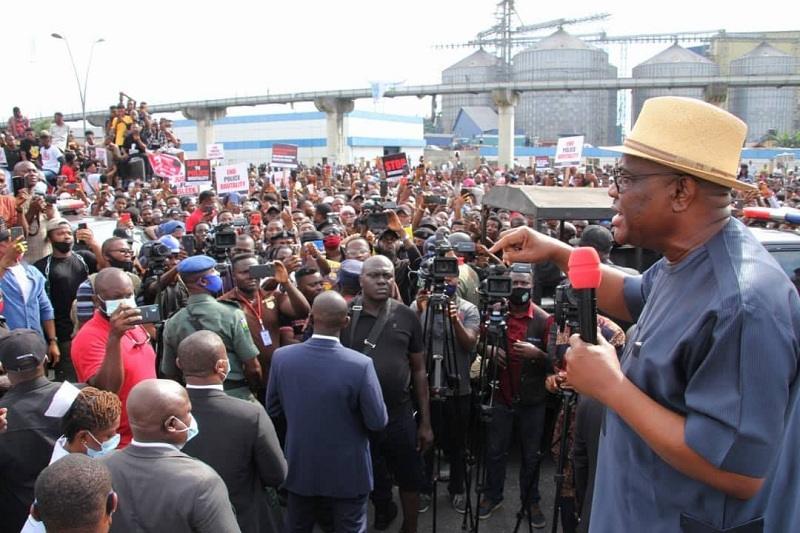 Rivers State Governor, Nyesom Ezenwo Wike Addressing End-SARS protesters at Government House, Port Harcourt.