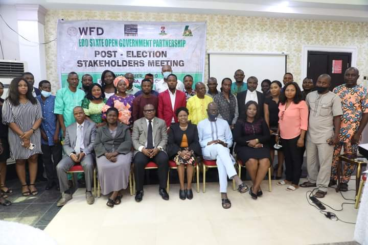 Group photograph of participants at the Open Governance Partnership (OGP) stakeholders meeting held in Benin City