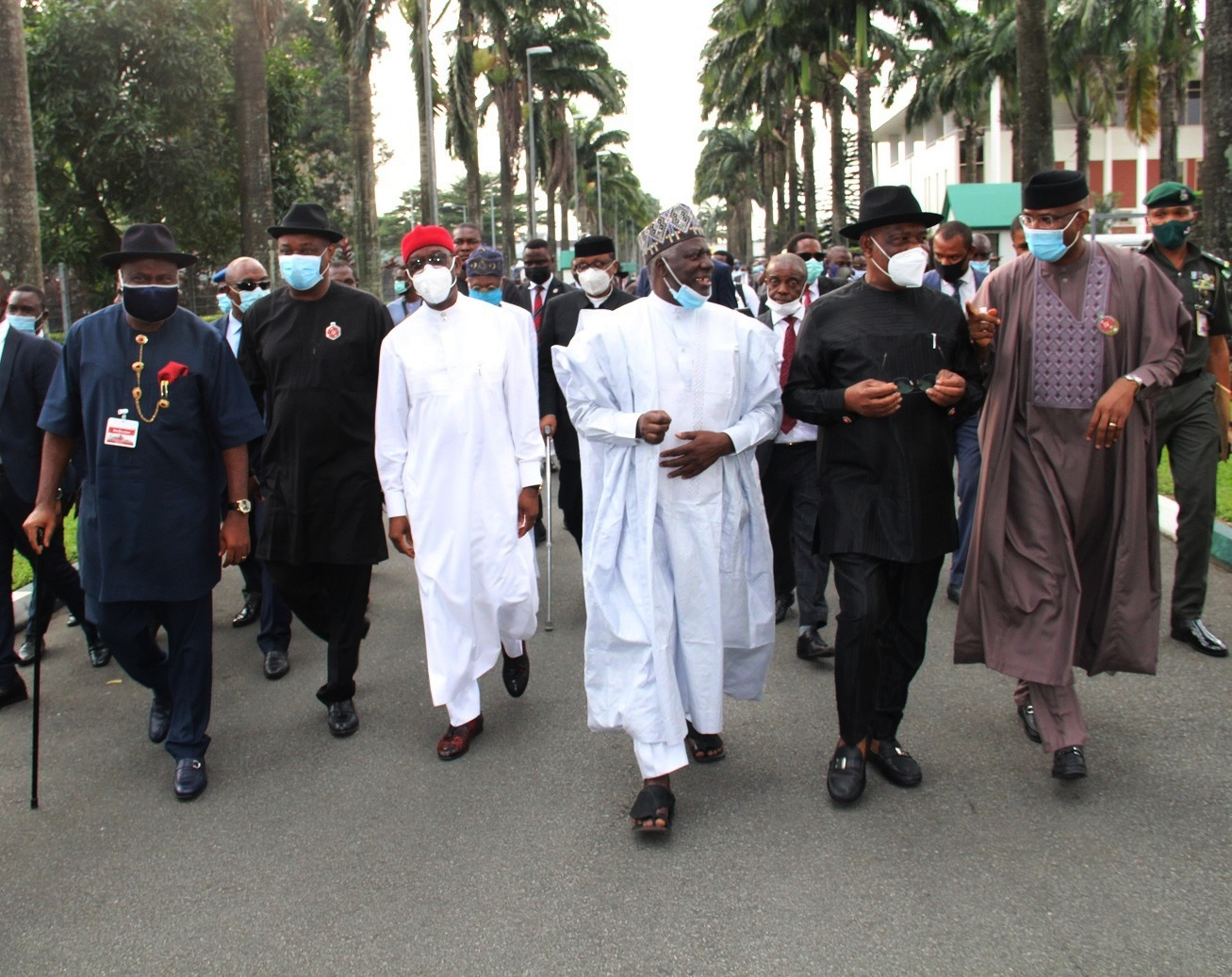 Representative of the President, and Chief of Staff to the President,Ambassador Ibrahim Gambari (3rd right); Deputy Senate President , Ovie Omo-Agege (right); Delta Governor, Senator Dr. Ifeanyi Okowa (3rd left); Rivers State Governor, Barr. Nyesom Wike (2nd right); Bayelsa State Governor, Senator Douye Diri and others, during the South-South Leaders Meeting with the Presidential delegation held in Government House, Port Harcourt, Rivers State on Tuesday, November 24, 2020 (Pix: Jibunor Samuel)