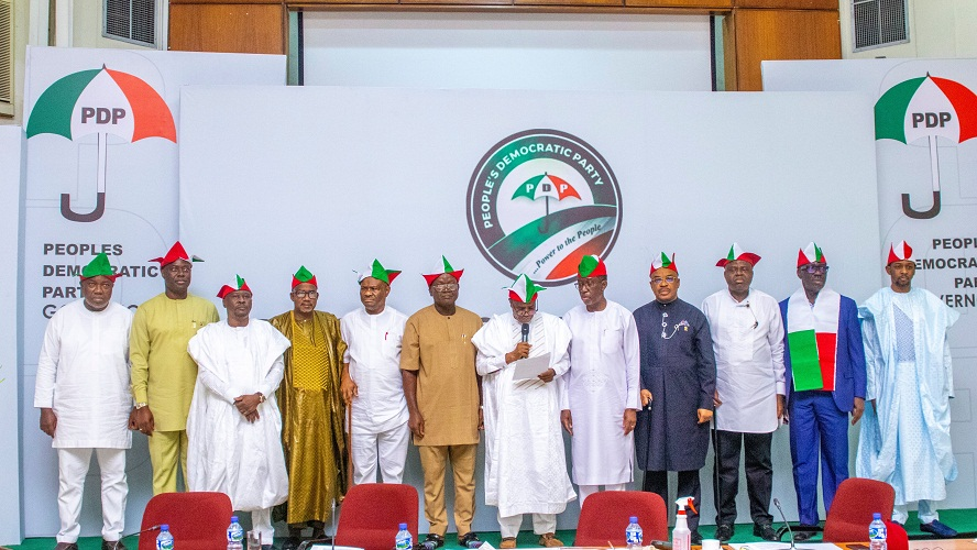 Group Photograph of PDP Governors at a Meeting in Ibadan, Oyo State